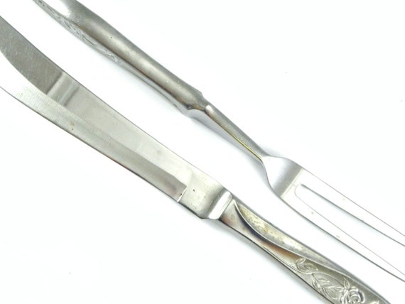 Vintage s stainless steel carving knife and fork set