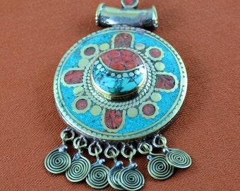 Tibetan Mosaic Statement Pendant with Swirl Dangles