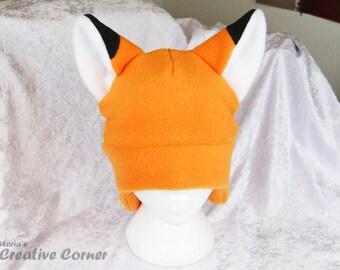 Fox Fleece Hat - Cute Cosplay Ear Flaps  Adult Teen Clothing