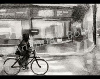 City Rain Scene  -Digital Painting Print