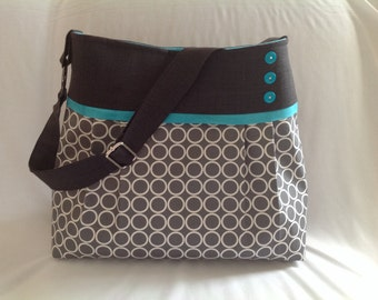 Diaper bag in charcoal grey and grey circles.   medium/large, deluxe bag with 5 pockets boy diaper bag, grey mommy bag, girl diaper bag