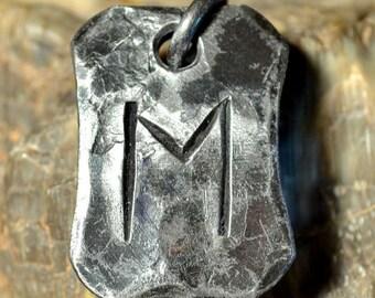 EHWAZ Rune Steel Forged Pendant Talisman Amulet Necklace Runes Vikings Viking Norse Iceland Magic Witchcraft Mythology Jewelry Pagan Runic