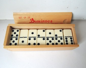 Set of 28 Double Six Dominoes in Wood Case