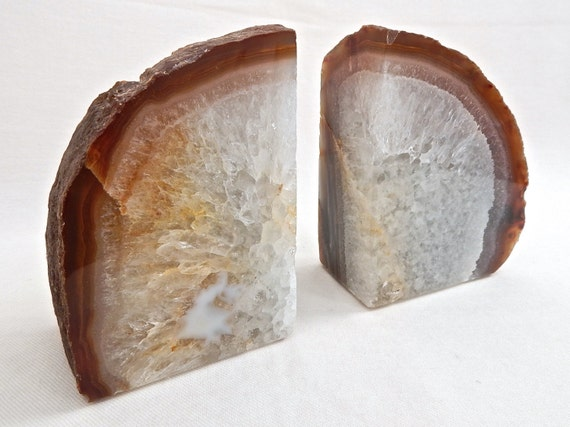 Natural quartz geode bookends agate crystal by naturalartworld - Geode bookends ...