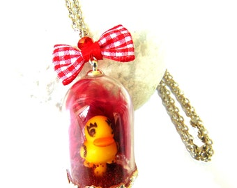 Necklace pendant necklace Duck glass globe on pen coincoin cushion