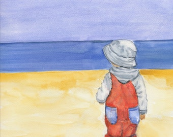 Watercolor Art Print 8x10 of an original watercolor Children on the beach