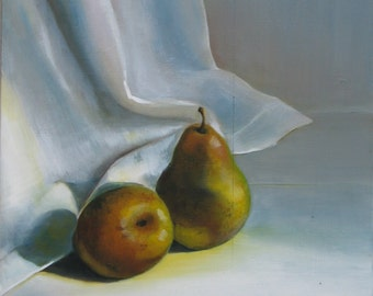 Still life painting of two pears, oil on reclaimed wood 44,5 x34 cm