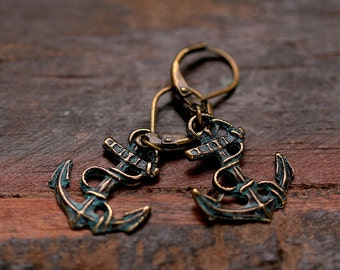 Ahoy Earrings patina anchor E156