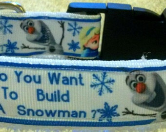Frozen snowman olaf dog collar