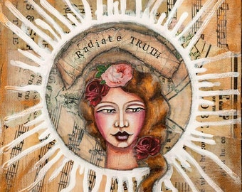 """Mixed media painting of women with inspiring words """"radiate truth"""", unique inspirational wall art, art print Giclée 12"""" x 12"""" - 30 x 30 cm"""