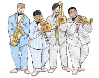 THE BAND  4 nattily suited guys playing brass instruments. Nice cool card from a collage original .