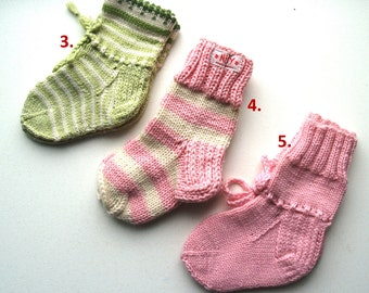 """Size: 12cm / 6-12 Months / 4.7"""" SALE of WOOL SOCKS for Baby Boy or Girl, Hand Knitted for every day use, Gift for New Born, Ready to ship"""