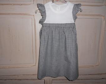 Handmade todler dress  -birthday gift - party dress for little girl - gingham cotton fabric dress