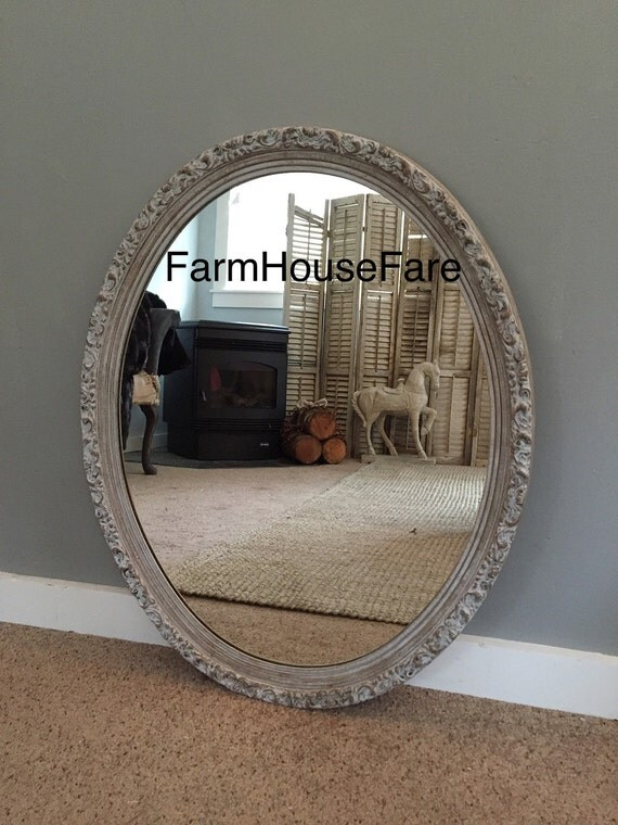 Baroque ornate oval large wall mirror bathroom by for Baroque oval mirror