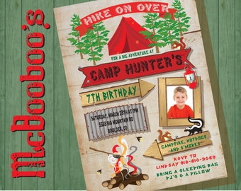 Rustic Adventure Camping Birthday Party Invitations with photo