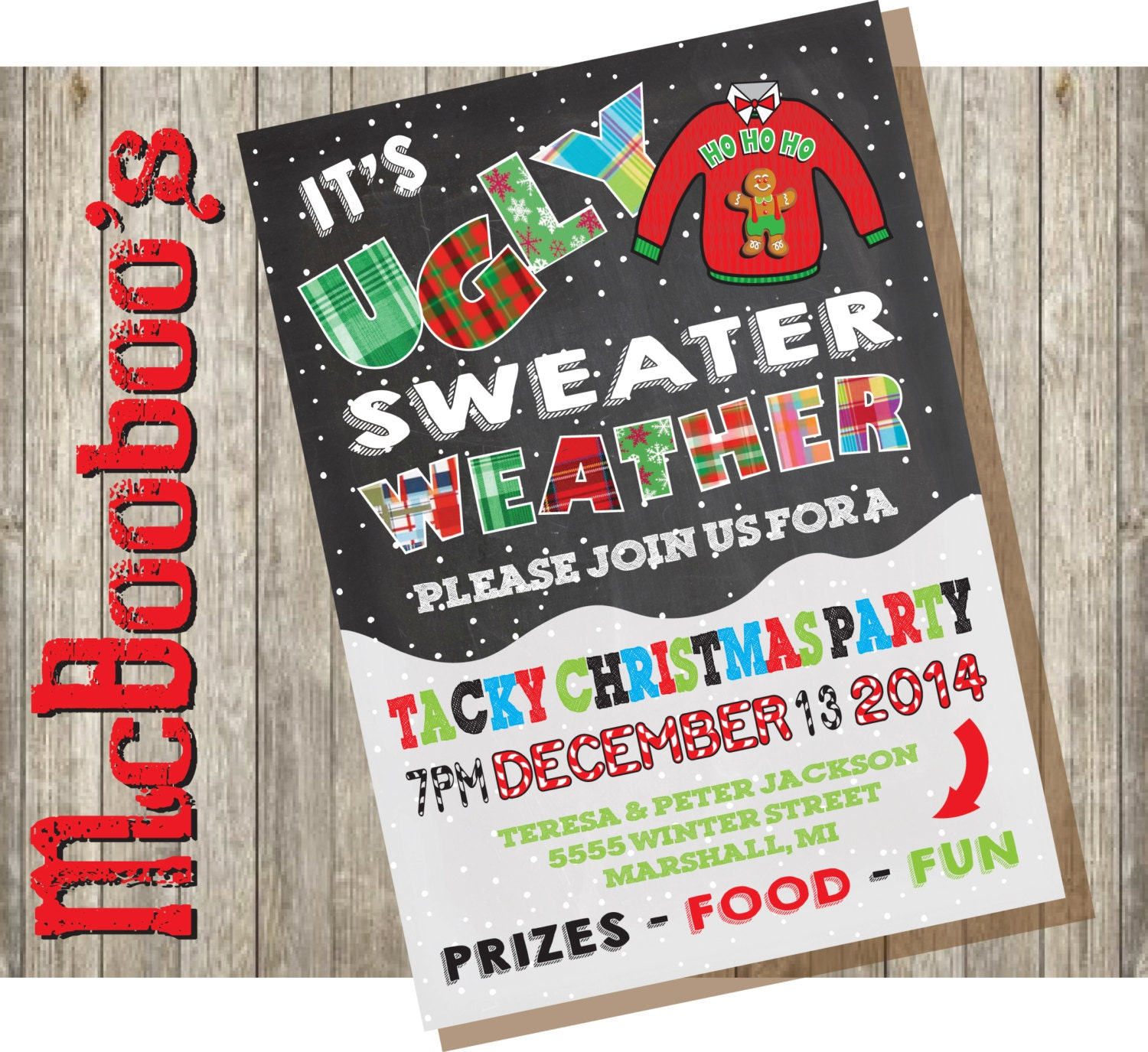 Ugly Christmas Party Sweaters: Ugly Tacky Christmas Sweater Party Invitations On A Snowy