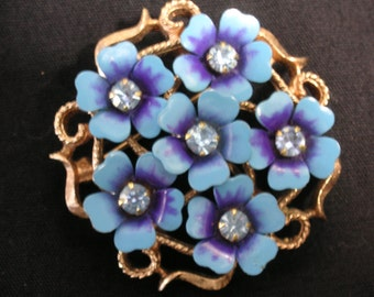 Avon Brooch and Pin with Rhinestones on Blue Enamel Flowers