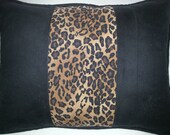 Leopard Stripe. Black Microsuede, 12 x 16 Pillow Cover. Bold. Modern. Lumbar Pillow. Decorator Pillow. Handmade. Cording and zipper closure.