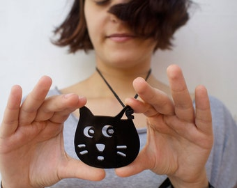 Black Cat Necklace FREE SHIPPING International Laser Cut Acrylic Perspex on Faux Suede String