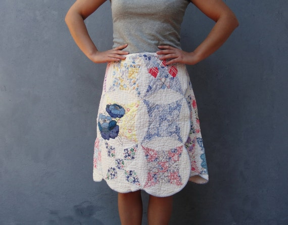 Quilted Embroidered Skirt Vintage Preloved fabric Clothing Embroidery wrap skirt