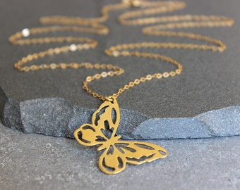 Gold butterfly necklace, dainty necklace, gold filled necklace, long necklace, gold pendant necklace.
