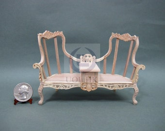 Miniature 1:12 Scale Love Seat With Table For Doll House [Unfinished Wood Frame ]