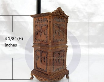 Miniature 1:12 Scale Victorian Carved Stove For Doll House[Finished in walnut]