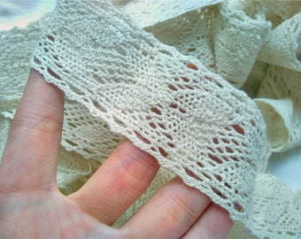 Vintage Cotton  Lace Trim ,DIY beige lace ribbon for sewing