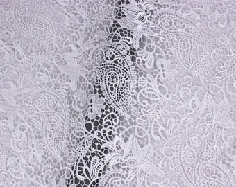 140cm polyester solubility lace fabric ,white hollow out wedding lace fabric