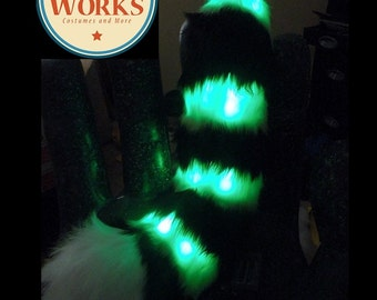 SALE: Curled Stripped LED Tail--lemur Tail, Fursuit, Red Panda Tail, custom tail, furry, Fursuit Tail, Fox Tail