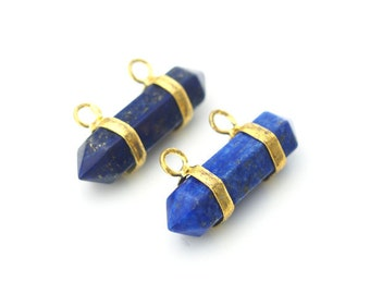 PA142642 Bulk Lot of 10 Lapis Lazuli Stone Double Terminated Point Pendant Gold Or Silver Plated Bail,Pencil Point Pendant