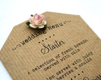 Rustic Paper Rose Wedding Menu - Ribbed Kraft, Shabby Chic