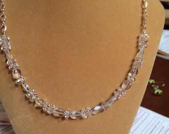 Beautiful clear crystal Quartz necklace with sterling silver chain