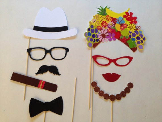 Cuban Party Photobooth Props Holiday Photo Booth Props Set of