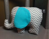 Elephant Stuffed Toy, Chevron Stuffie, Nursery Decor, Lovey, Baby Shower Gift, Plush Toy, Gender Neutral Baby Gift
