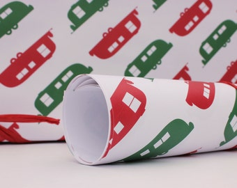 Airstream Wrapping Paper. Red and Green Vintage Airstream Trailers.  Wrapping Paper Sheet