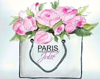 Paris shopping bag bursting with flowers,personalized
