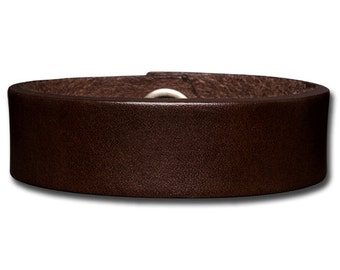 Plain Thick Leather Bracelet Wristband Cuff 20mm Brown with Snap Fastener (Nickel Free)