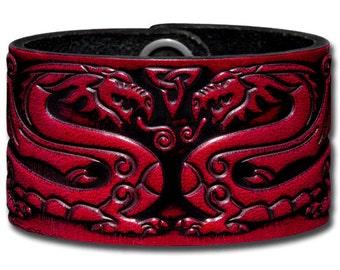 Leather Bracelet 40mm Celtic Dragons