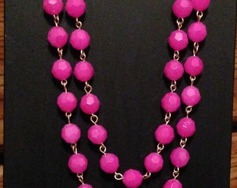 Hot pink double layered necklace----on sale down from 24.00----