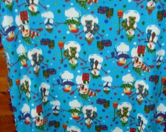 snowman fleece tie blaket