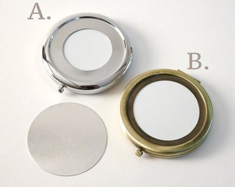 DIY Metal circle mirror box on both sides, silver and bronze, pocket mirror