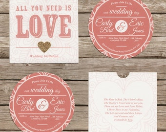 Cardboard disc 'CD' wedding invitation with sleeve. Coral and gold