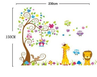 Lion, Giraffe, Tree Nursery Kids Wall Decals / Wall Stickers - AW7251
