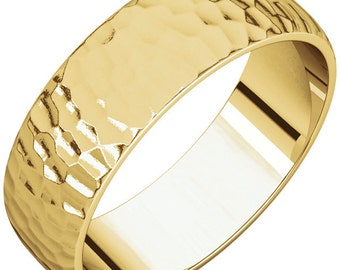 7mm Classic Hammered Wedding Band- 14k gold