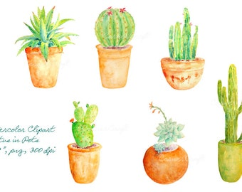 Watercolor clipart - Hand painted watercolor cactus in terracotta pots printable instant download