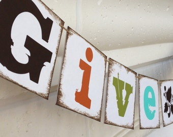 FREE SHIPPING Give Thanks banner garland bunting decoration