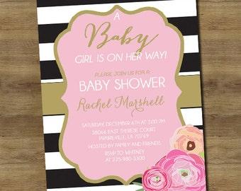 Gold Baby Girl Shower Invitation _10
