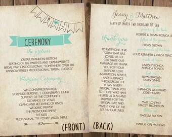 Wedding Program Card, Cute Infographic Program, Modern Rustic Program, Shabby Chic Wedding Program, Unique Program