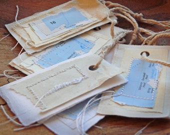 Map Stitched Paper Scrap Gift Tags - Handmade Recycled Stitched Paper and Fabric Labels - MADE TO ORDER